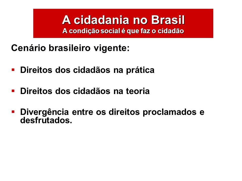 Cenário brasileiro vigente: Direitos dos cidadãos na prática Direitos dos cidadãos na teoria Divergência entre os direitos proclamados e desfrutados.