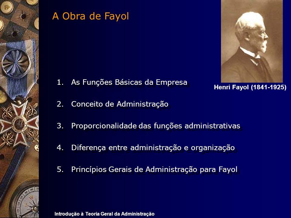 Introdução à Teoria Geral da Administração 1.As Funções Básicas da Empresa 2.Conceito de Administração 3.Proporcionalidade das funções administrativas
