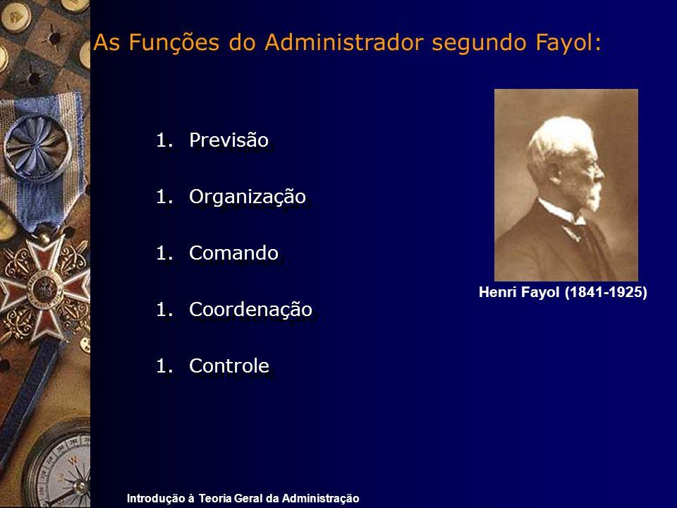 Introdução à Teoria Geral da Administração As Funções do Administrador segundo Fayol: 1.Previsão 1.Organização 1.Comando 1.Coordenação 1.Controle 1.Pr