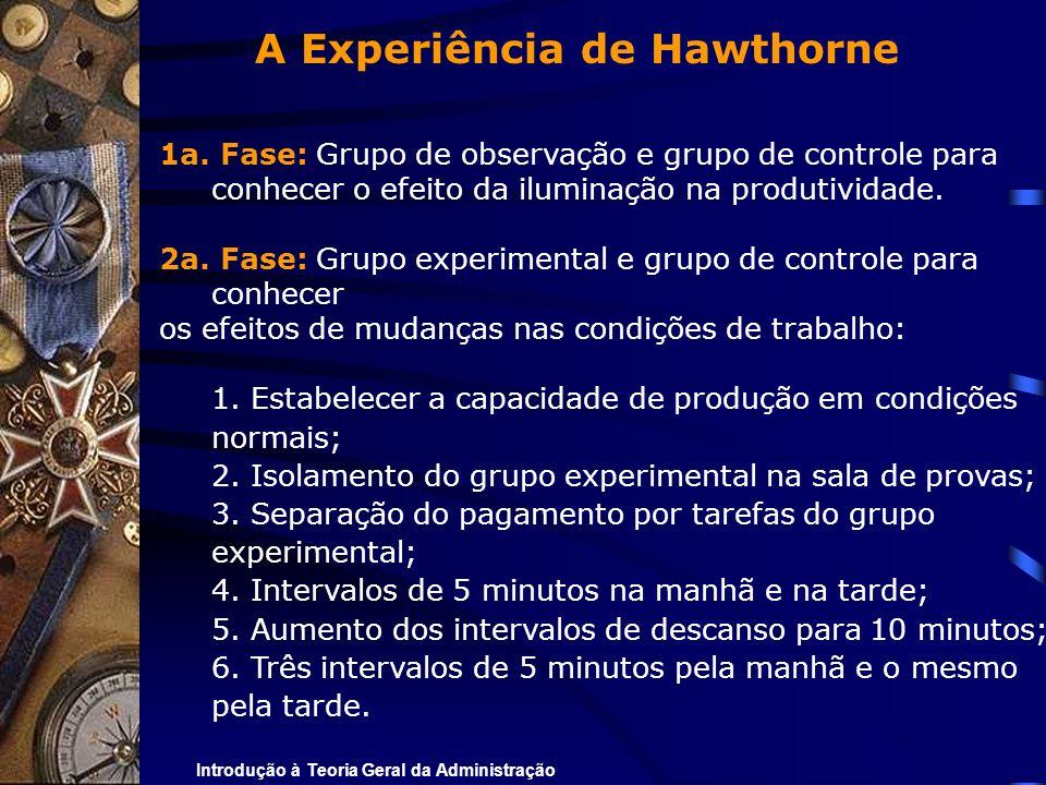 Introdução à Teoria Geral da Administração A Experiência de Hawthorne 1a. Fase: Grupo de observação e grupo de controle para conhecer o efeito da ilum