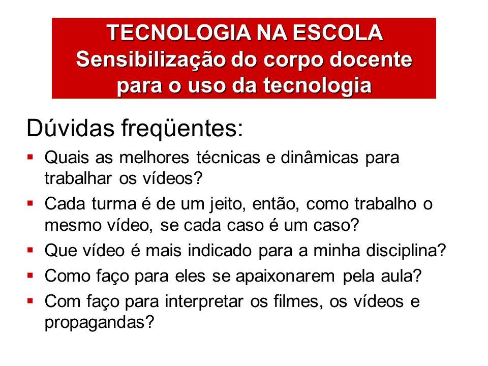 TECNOLOGIA NA ESCOLA Sensibilização do corpo docente para o uso da tecnologia VÍDEOATIVIDADES São estratégias para o uso da TV e do vídeo em ambientes de aprendizagem.