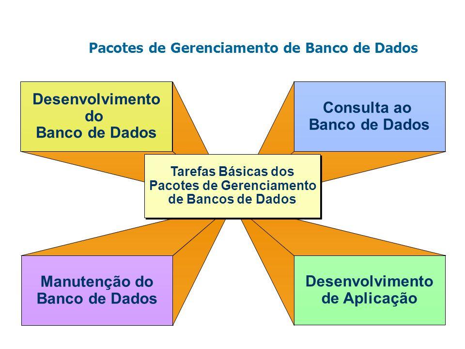 Pacotes de Gerenciamento de Banco de Dados Desenvolvimento do Banco de Dados Manutenção do Banco de Dados Consulta ao Banco de Dados Desenvolvimento d