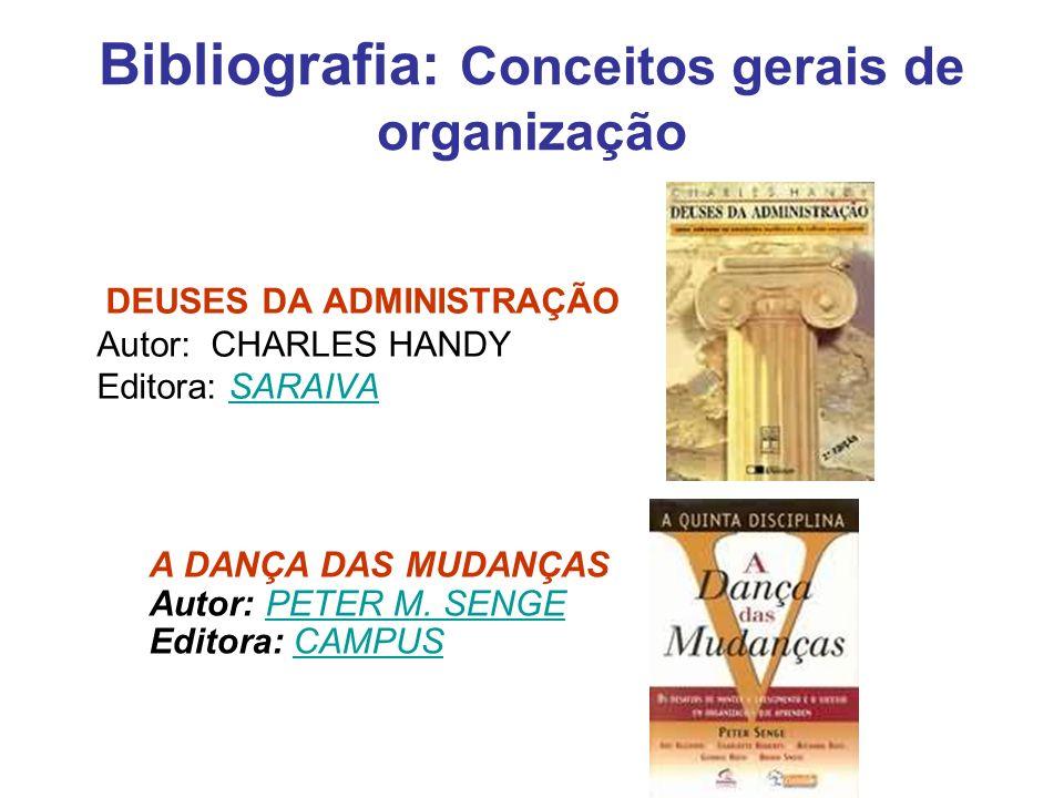 Bibliografia: Conceitos gerais de organização DEUSES DA ADMINISTRAÇÃO Autor: CHARLES HANDY Editora: SARAIVASARAIVA A DANÇA DAS MUDANÇAS Autor: PETER M