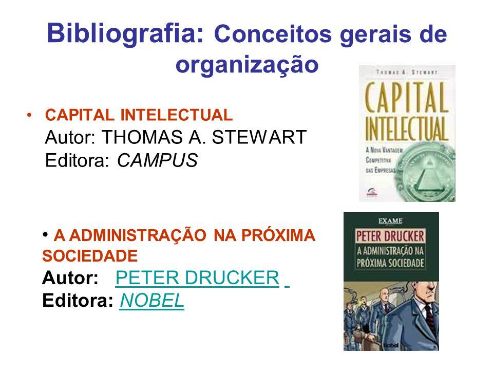 Bibliografia: Conceitos gerais de organização CAPITAL INTELECTUAL Autor: THOMAS A. STEWART Editora: CAMPUS A ADMINISTRAÇÃO NA PRÓXIMA SOCIEDADE Autor: