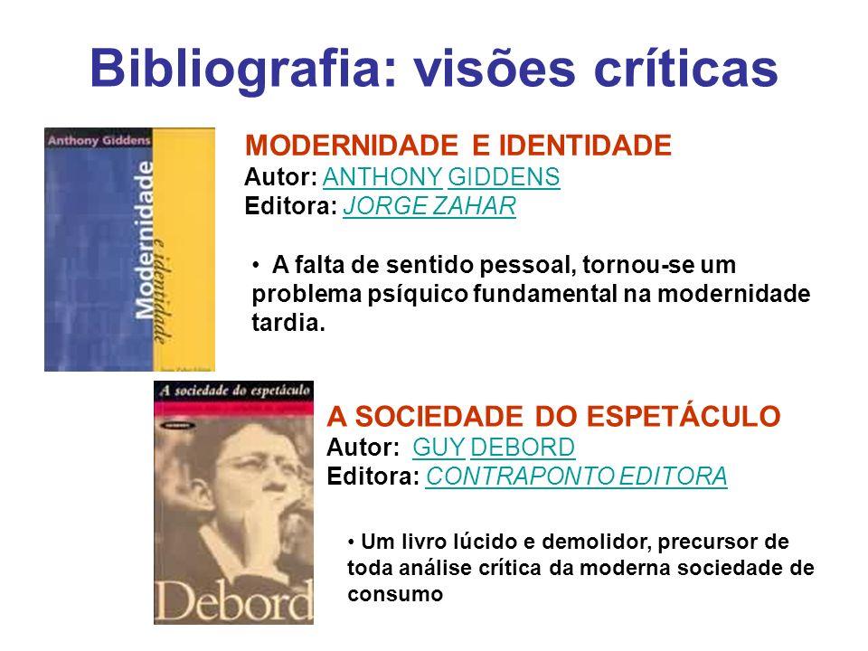Bibliografia: visões críticas A SOCIEDADE DO ESPETÁCULO Autor: GUY DEBORDGUYDEBORD Editora: CONTRAPONTO EDITORACONTRAPONTO EDITORA MODERNIDADE E IDENT