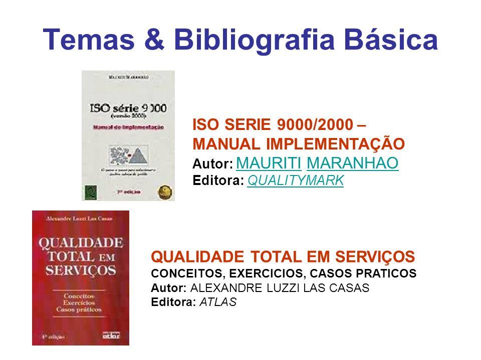 Temas & Bibliografia Básica QUALIDADE TOTAL EM SERVIÇOS CONCEITOS, EXERCICIOS, CASOS PRATICOS Autor: ALEXANDRE LUZZI LAS CASAS Editora: ATLAS ISO SERI