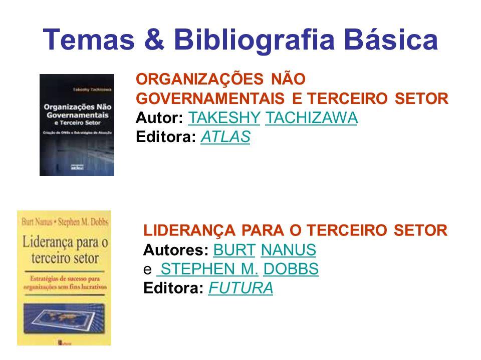 Temas & Bibliografia Básica ORGANIZAÇÕES NÃO GOVERNAMENTAIS E TERCEIRO SETOR Autor: TAKESHY TACHIZAWA Editora: ATLASTAKESHYTACHIZAWAATLAS LIDERANÇA PA