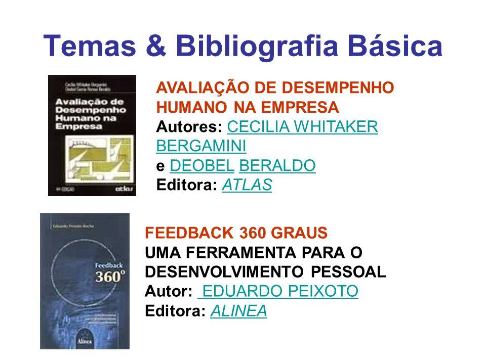 Temas & Bibliografia Básica AVALIAÇÃO DE DESEMPENHO HUMANO NA EMPRESA Autores: CECILIA WHITAKER BERGAMINI e DEOBEL BERALDO Editora: ATLASCECILIA WHITA