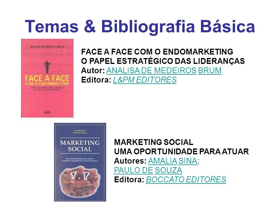 Temas & Bibliografia Básica FACE A FACE COM O ENDOMARKETING O PAPEL ESTRATÉGICO DAS LIDERANÇAS Autor: ANALISA DE MEDEIROS BRUM Editora: L&PM EDITORESA