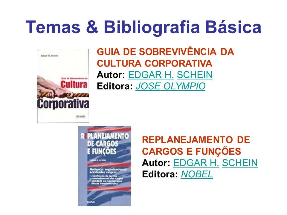 Temas & Bibliografia Básica GUIA DE SOBREVIVÊNCIA DA CULTURA CORPORATIVA Autor: EDGAR H. SCHEIN Editora: JOSE OLYMPIOEDGAR H.SCHEINJOSE OLYMPIO REPLAN