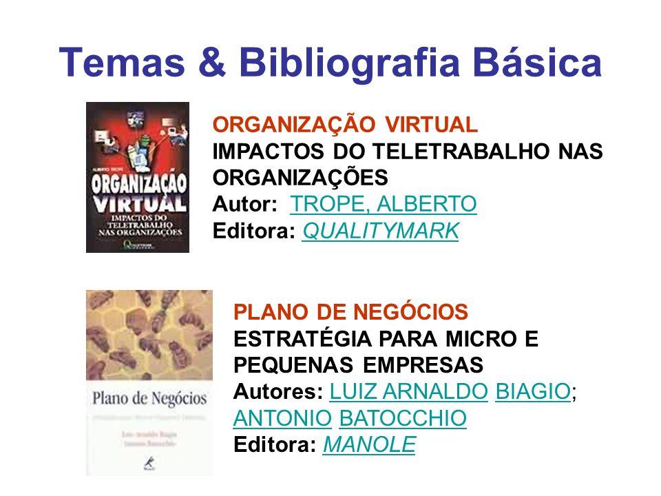 Temas & Bibliografia Básica ORGANIZAÇÃO VIRTUAL IMPACTOS DO TELETRABALHO NAS ORGANIZAÇÕES Autor: TROPE, ALBERTO Editora: QUALITYMARKTROPE, ALBERTOQUAL