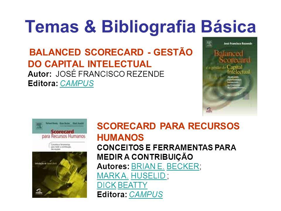 Temas & Bibliografia Básica BALANCED SCORECARD - GESTÃO DO CAPITAL INTELECTUAL Autor: JOSÉ FRANCISCO REZENDE Editora: CAMPUSCAMPUS SCORECARD PARA RECU