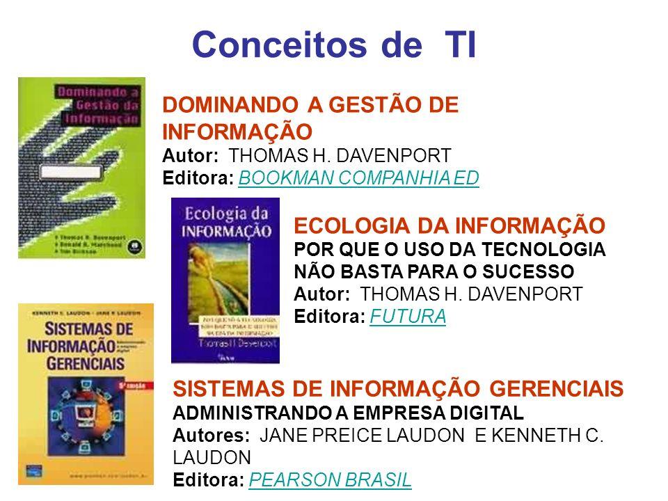 Bibliografia: Conceitos Gerais de TI TECNOLOGIA DA INFORMAÇÃO EFICÁCIA NAS ORGANIZAÇÕES Autor: FERNANDO JOSE BARBIN LAURINDO Editora: FUTURAFERNANDO JOSE BARBINLAURINDOFUTURA TECNOLOGIA DA INFORMAÇÃO PARA GESTÃO TRANSFORMANDO OS NEGÓCIOS NA ECONOMIA DIGITAL Autores: TURBAN, EFRAIM ; JAMES C.