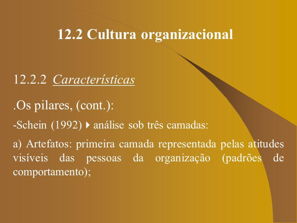 12.2 Cultura organizacional 12.2.2 Características.Os pilares, (cont.): -Schein (1992) análise sob três camadas: a) Artefatos: primeira camada represe