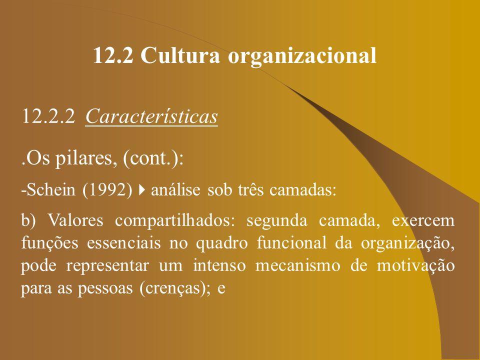 12.2 Cultura organizacional 12.2.2 Características.Os pilares, (cont.): -Schein (1992) análise sob três camadas: b) Valores compartilhados: segunda ca
