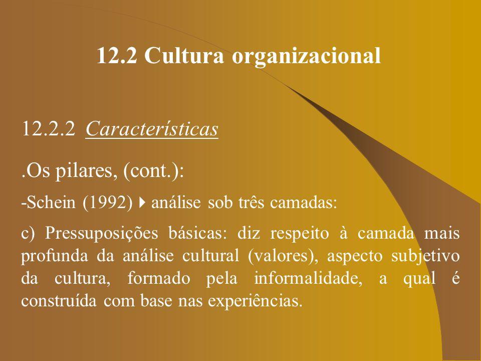 12.2 Cultura organizacional 12.2.2 Características.Os pilares, (cont.): -Schein (1992) análise sob três camadas: c) Pressuposições básicas: diz respei
