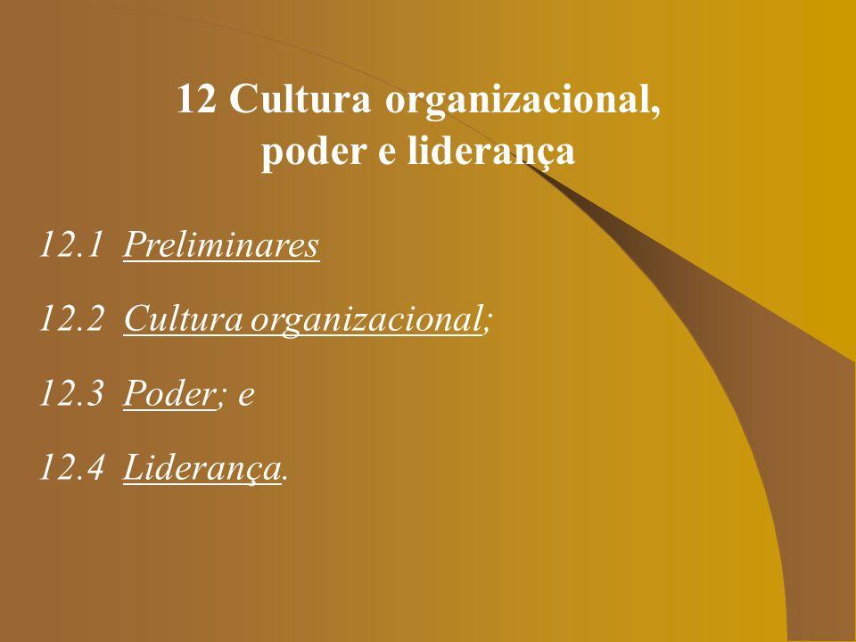 12 Cultura organizacional, poder e liderança 12.1 Preliminares 12.2 Cultura organizacional; 12.3 Poder; e 12.4 Liderança.