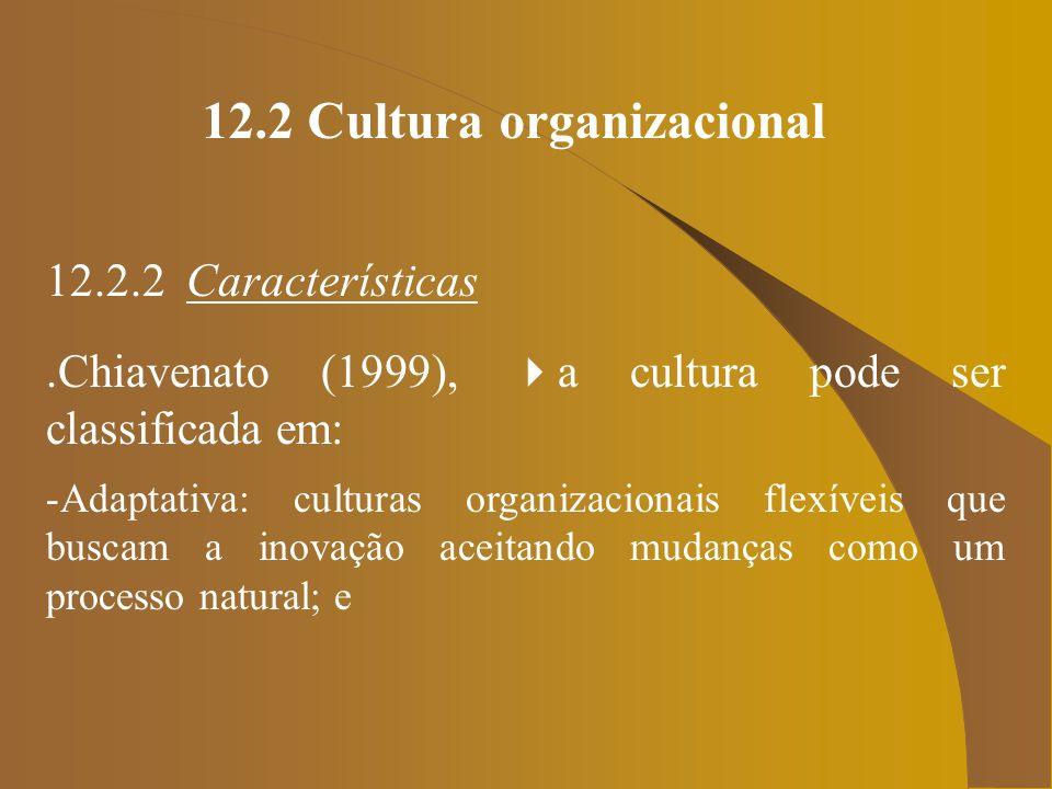 12.2 Cultura organizacional 12.2.2 Características.Chiavenato (1999), a cultura pode ser classificada em: -Adaptativa: culturas organizacionais flexív