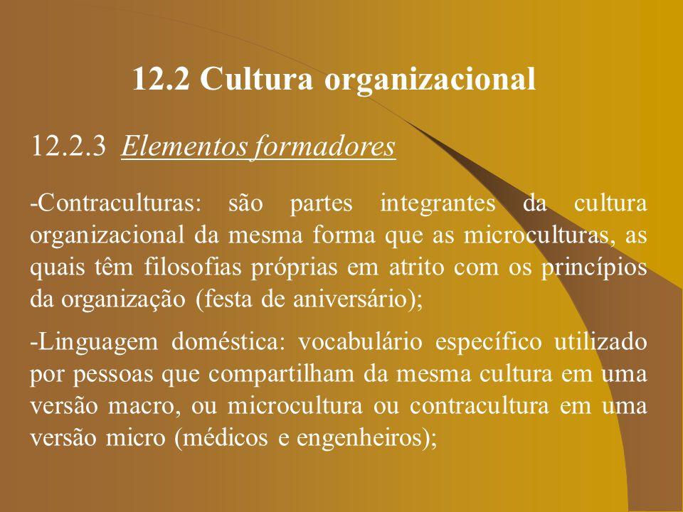 12.2 Cultura organizacional 12.2.3 Elementos formadores -Contraculturas: são partes integrantes da cultura organizacional da mesma forma que as microc