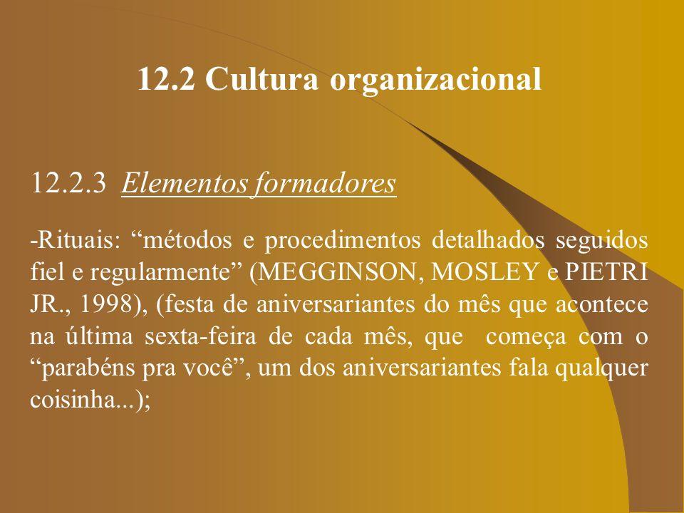 12.2 Cultura organizacional 12.2.3 Elementos formadores -Rituais: métodos e procedimentos detalhados seguidos fiel e regularmente (MEGGINSON, MOSLEY e