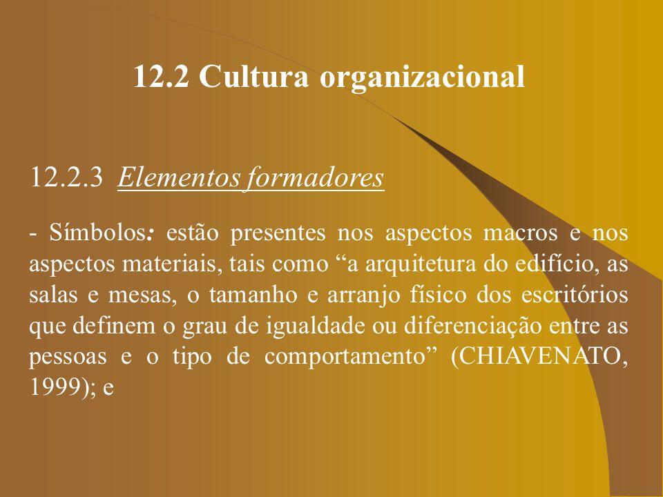12.2 Cultura organizacional 12.2.3 Elementos formadores - Símbolos: estão presentes nos aspectos macros e nos aspectos materiais, tais como a arquitet