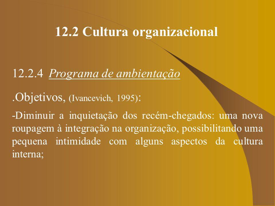 12.2 Cultura organizacional 12.2.4 Programa de ambientação.Objetivos, (Ivancevich, 1995) : -Diminuir a inquietação dos recém-chegados: uma nova roupag
