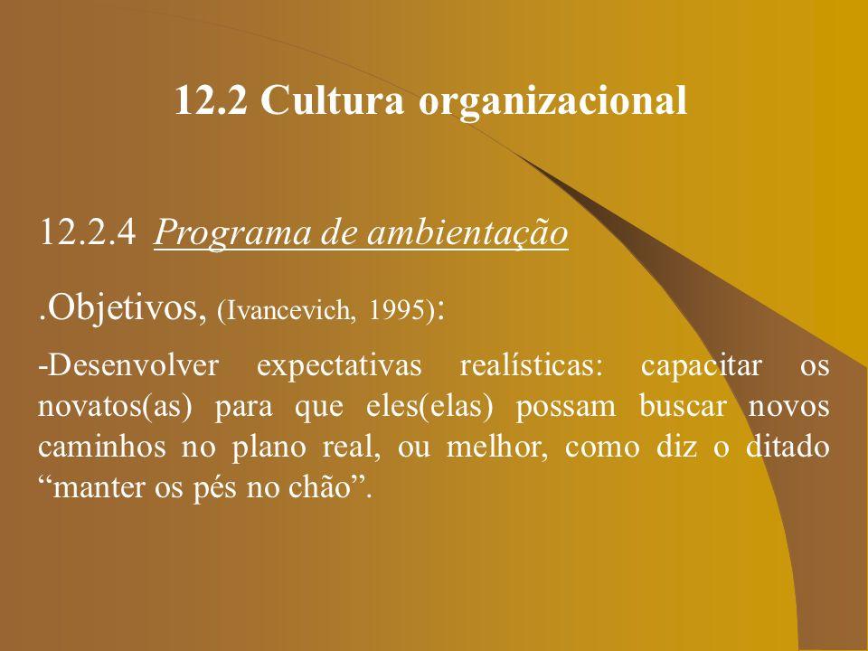 12.2 Cultura organizacional 12.2.4 Programa de ambientação.Objetivos, (Ivancevich, 1995) : -Desenvolver expectativas realísticas: capacitar os novatos
