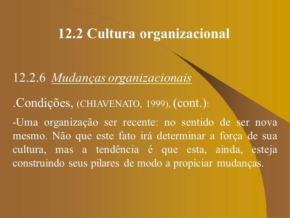12.2 Cultura organizacional 12.2.6 Mudanças organizacionais.Condições, (CHIAVENATO, 1999), (cont.) : -Uma organização ser recente: no sentido de ser n