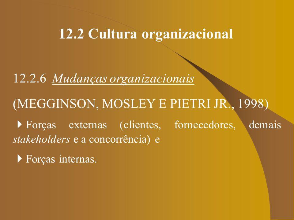 12.2 Cultura organizacional 12.2.6 Mudanças organizacionais (MEGGINSON, MOSLEY E PIETRI JR., 1998) Forças externas (clientes, fornecedores, demais sta