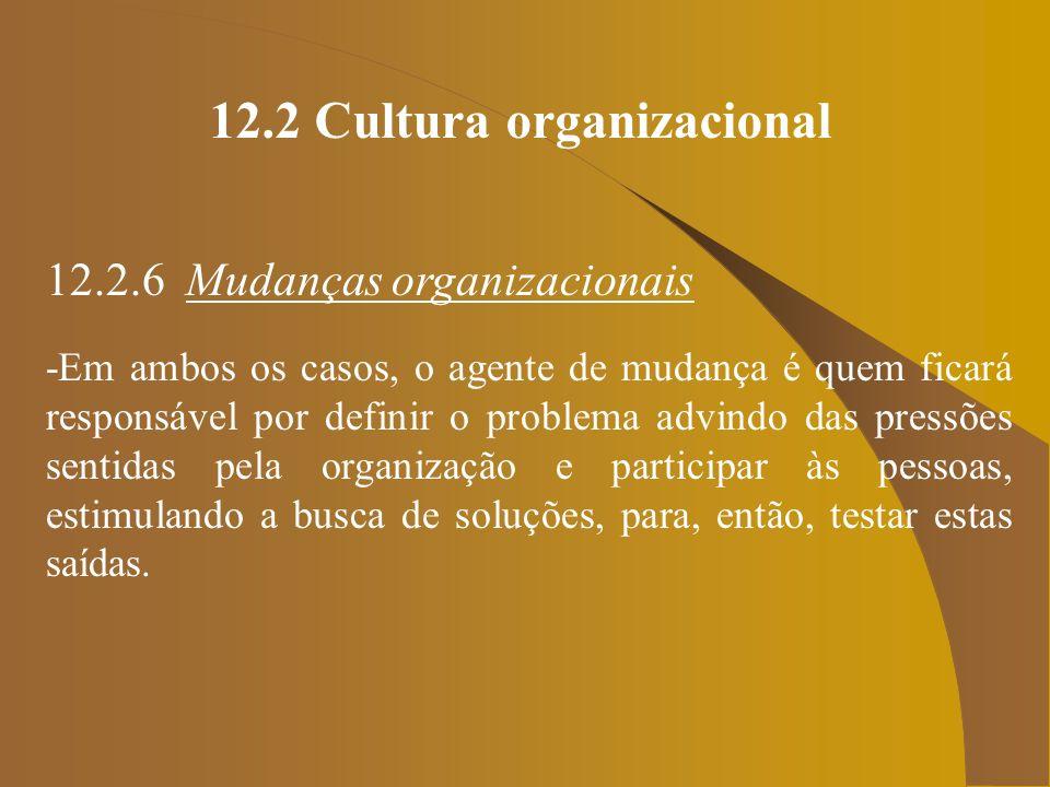 12.2 Cultura organizacional 12.2.6 Mudanças organizacionais -Em ambos os casos, o agente de mudança é quem ficará responsável por definir o problema a