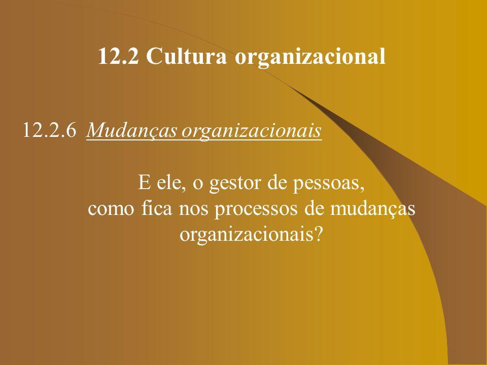 12.2 Cultura organizacional 12.2.6 Mudanças organizacionais E ele, o gestor de pessoas, como fica nos processos de mudanças organizacionais?