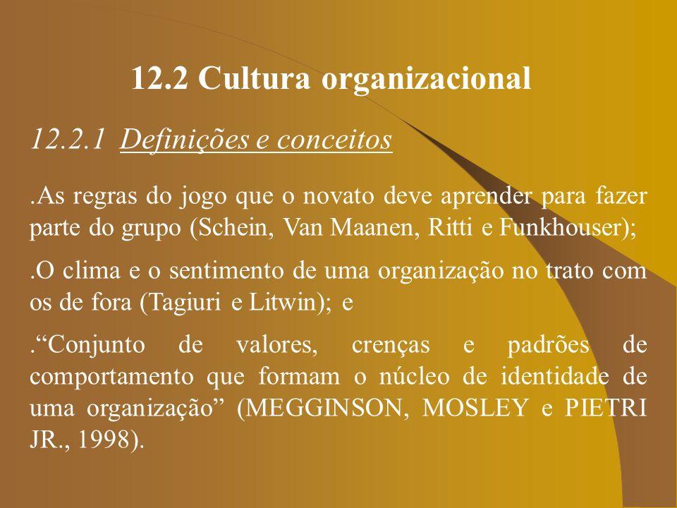 12.2 Cultura organizacional 12.2.1 Definições e conceitos.As regras do jogo que o novato deve aprender para fazer parte do grupo (Schein, Van Maanen,