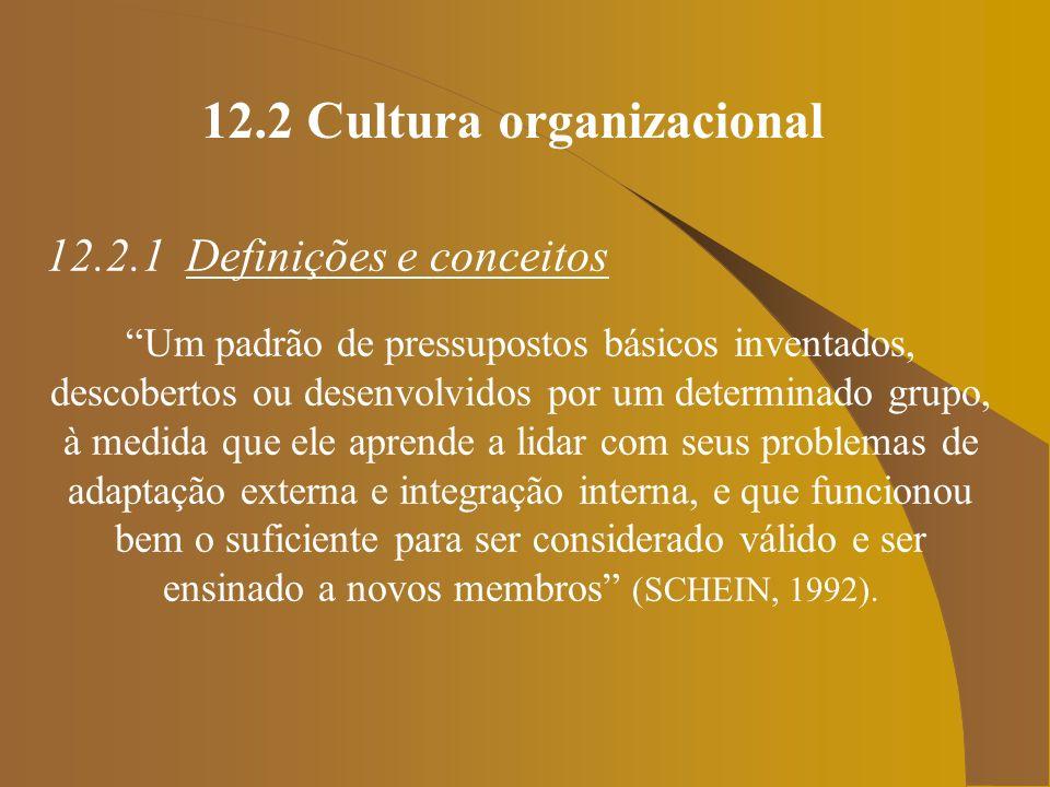 12.2 Cultura organizacional 12.2.1 Definições e conceitos Um padrão de pressupostos básicos inventados, descobertos ou desenvolvidos por um determinad