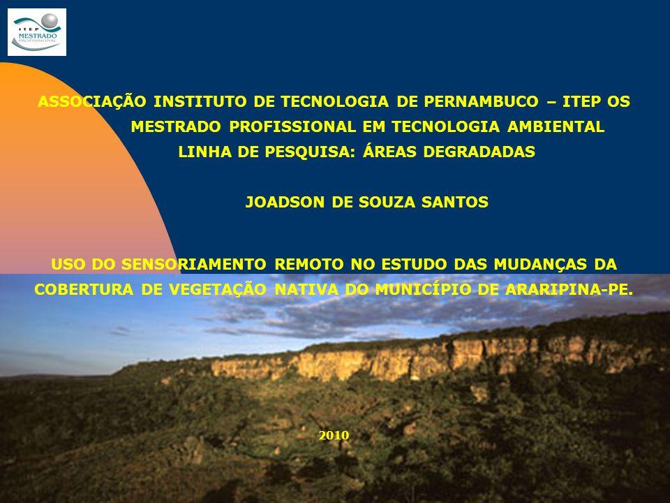 ASSOCIAÇÃO INSTITUTO DE TECNOLOGIA DE PERNAMBUCO – ITEP OS MESTRADO PROFISSIONAL EM TECNOLOGIA AMBIENTAL LINHA DE PESQUISA: ÁREAS DEGRADADAS JOADSON D