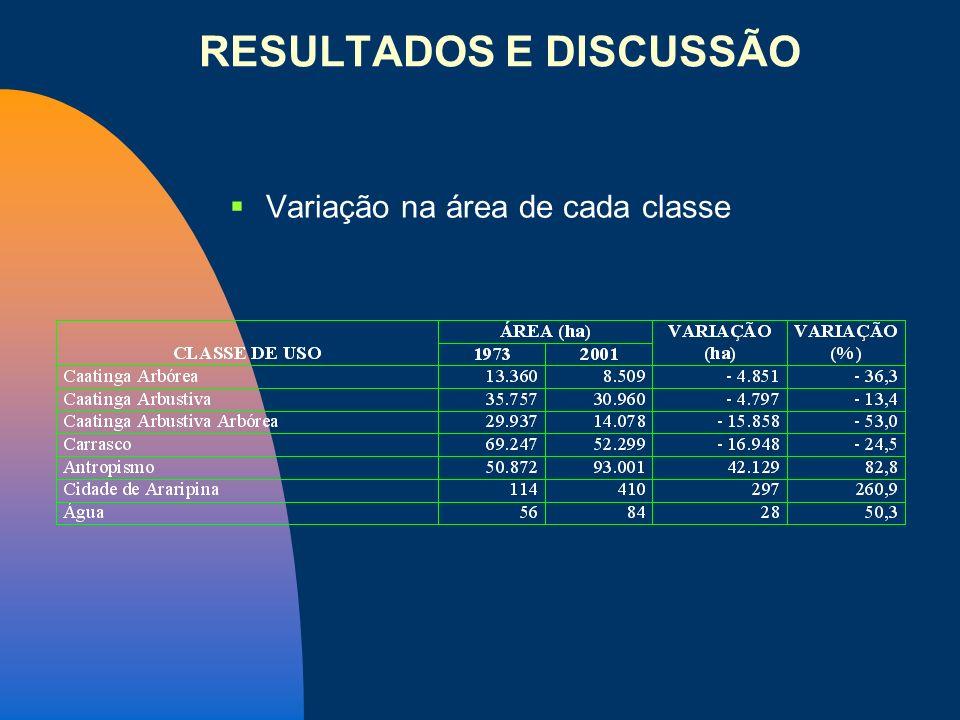 Variação na área de cada classe RESULTADOS E DISCUSSÃO