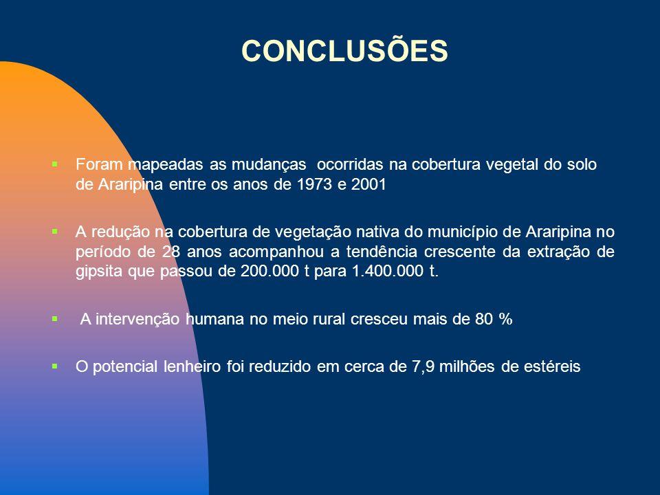 Foram mapeadas as mudanças ocorridas na cobertura vegetal do solo de Araripina entre os anos de 1973 e 2001 A redução na cobertura de vegetação nativa