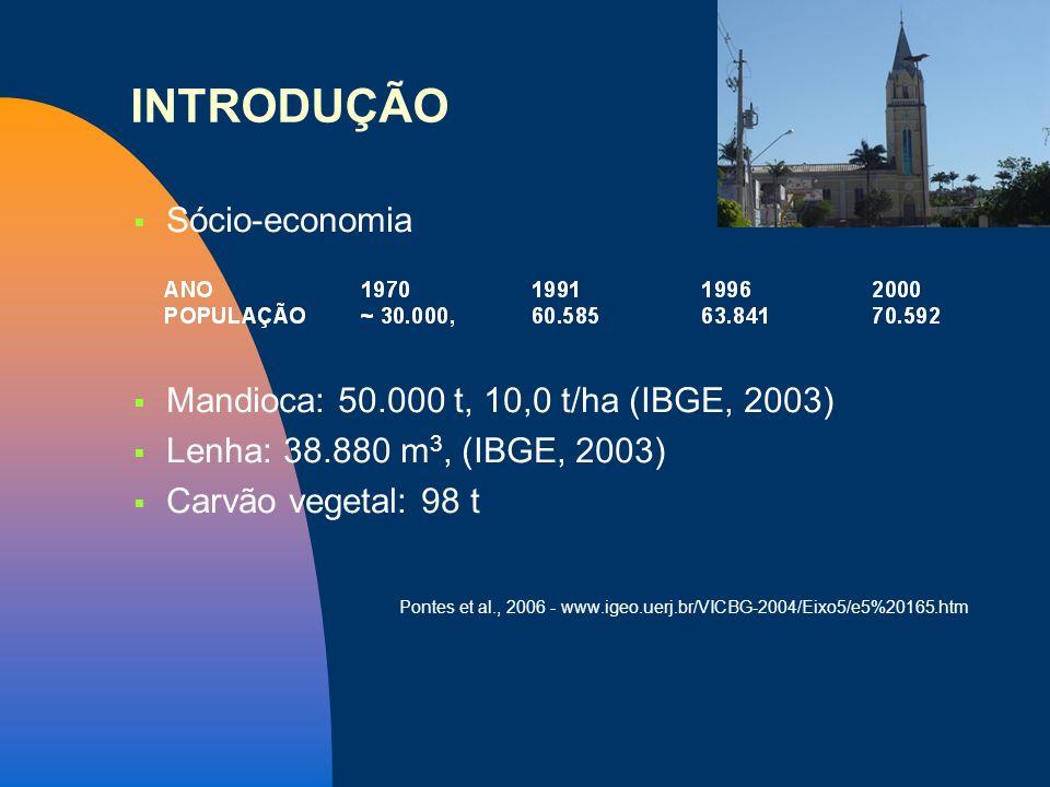 INTRODUÇÃO Sócio-economia Mandioca: 50.000 t, 10,0 t/ha (IBGE, 2003) Lenha: 38.880 m 3, (IBGE, 2003) Carvão vegetal: 98 t Pontes et al., 2006 - www.ig