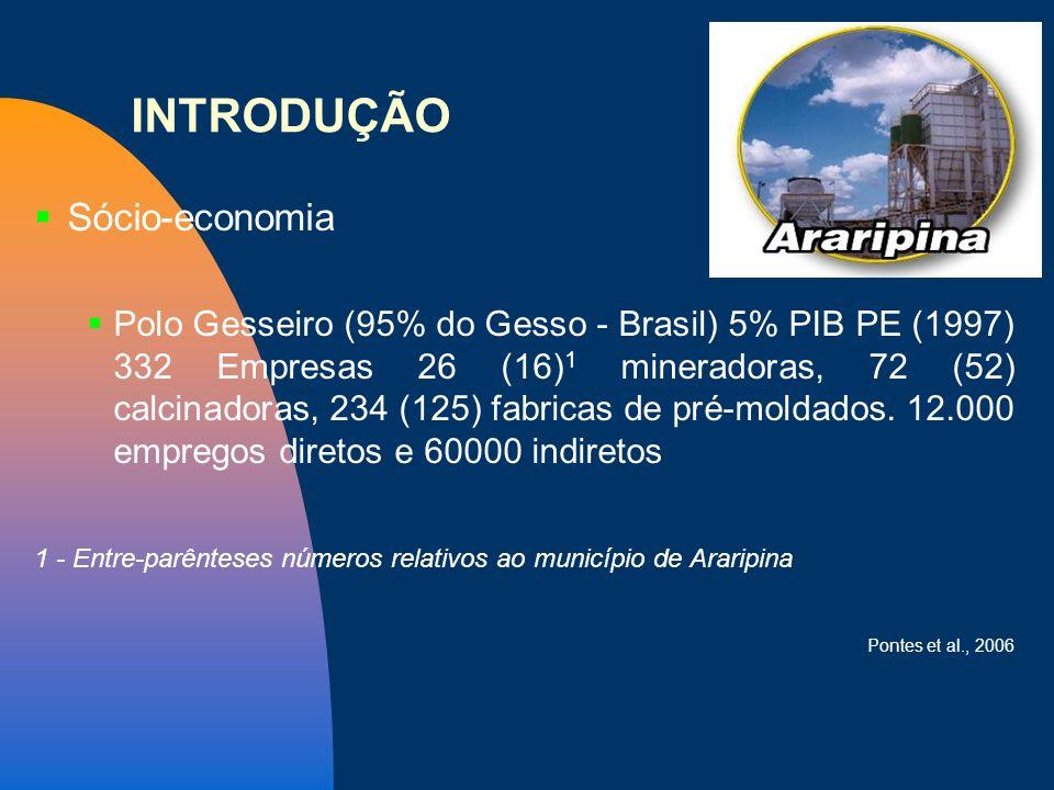 INTRODUÇÃO Sócio-economia Polo Gesseiro (95% do Gesso - Brasil) 5% PIB PE (1997) 332 Empresas 26 (16) 1 mineradoras, 72 (52) calcinadoras, 234 (125) f