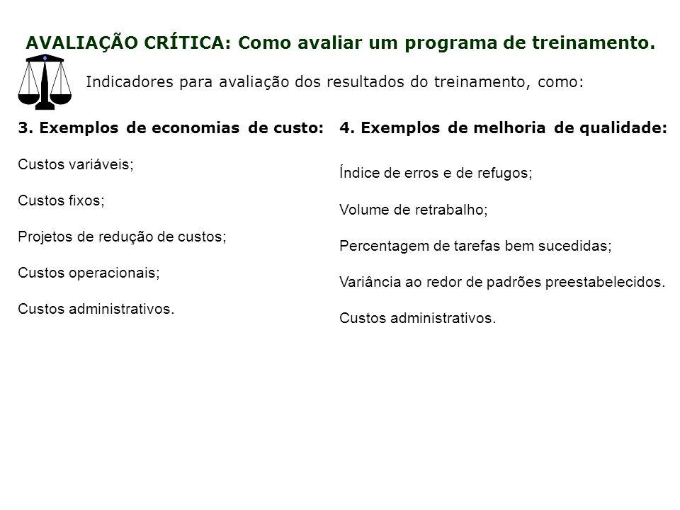 Indicadores para avaliação dos resultados do treinamento, como: 3 5.