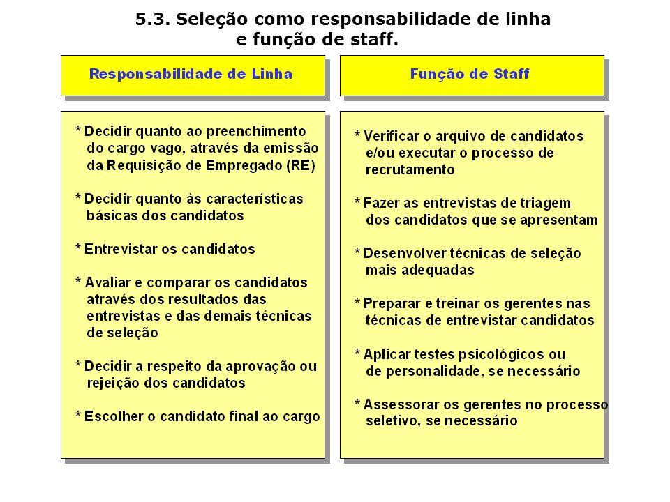 5.3. Seleção como responsabilidade de linha e função de staff.