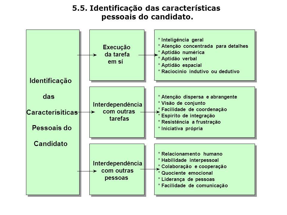 5.5. Identificação das características pessoais do candidato. Execução da tarefa emsí Interdependência com outras pessoas Interdependência com outras