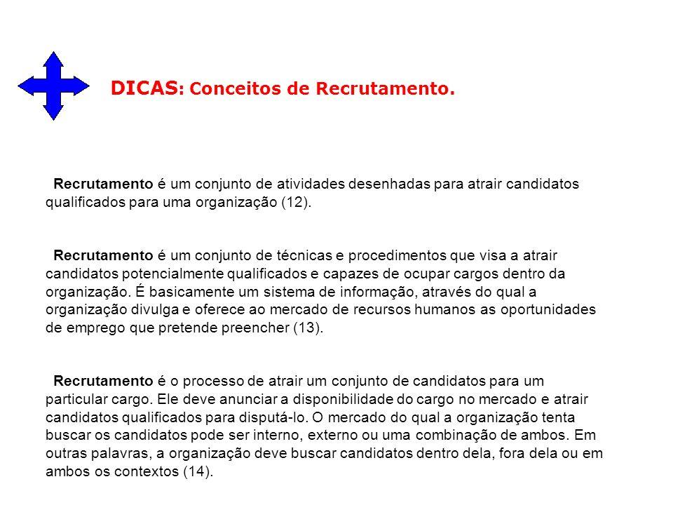Recrutamento é um conjunto de atividades desenhadas para atrair candidatos qualificados para uma organização (12). Recrutamento é um conjunto de técni
