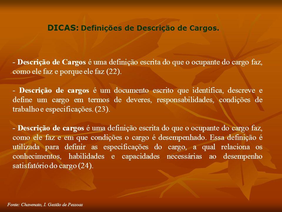 Fonte: Chavenato, I. Gestão de Pessoas DICAS: Definições de Descrição de Cargos.