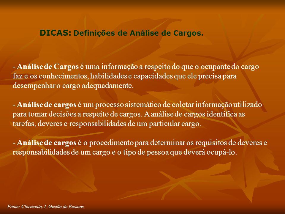 Fonte: Chavenato, I. Gestão de Pessoas DICAS: Definições de Análise de Cargos.