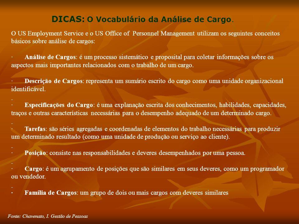 Fonte: Chavenato, I. Gestão de Pessoas DICAS: O Vocabulário da Análise de Cargo.