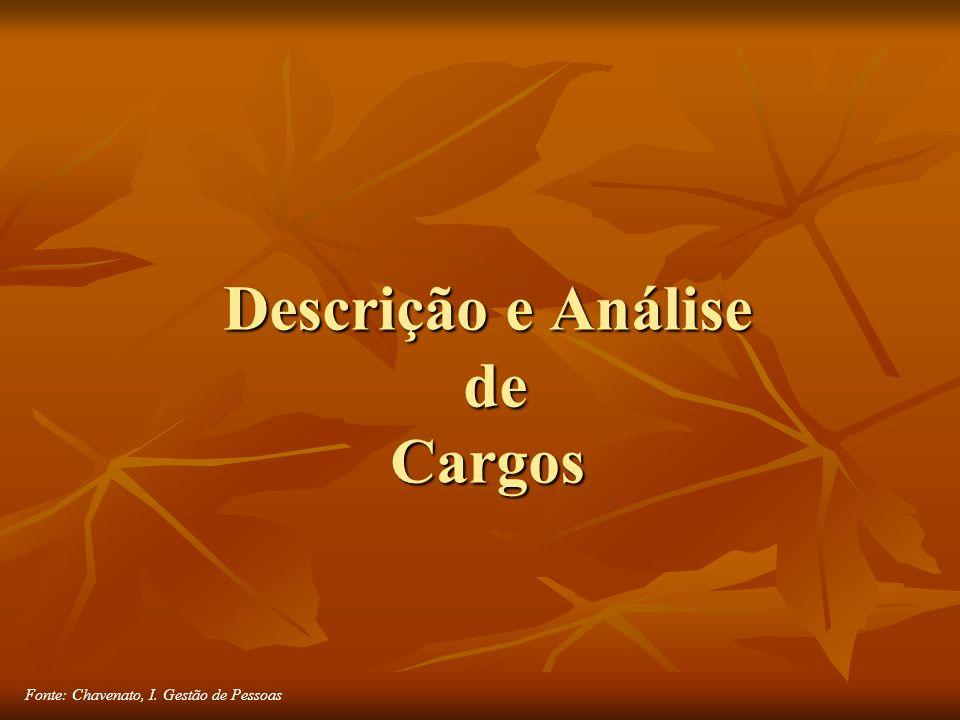 Fonte: Chavenato, I. Gestão de Pessoas Descrição e Análise de Cargos