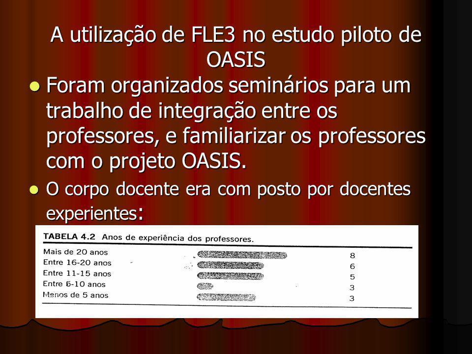 A utilização de FLE3 no estudo piloto de OASIS Foram organizados seminários para um trabalho de integração entre os professores, e familiarizar os pro