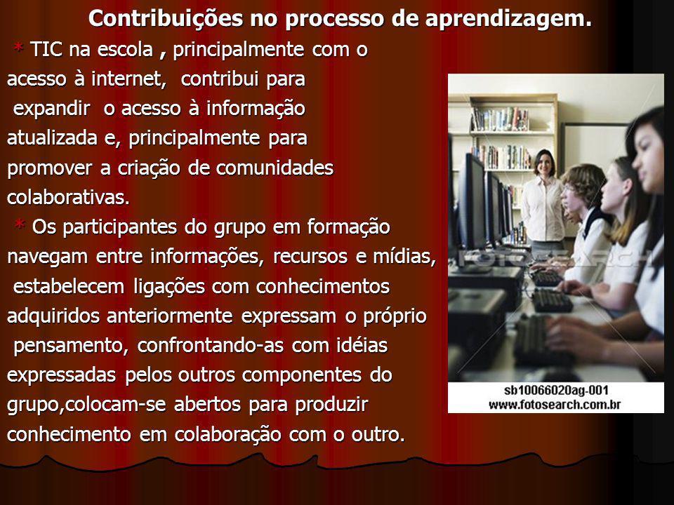 Contribuições no processo de aprendizagem. Contribuições no processo de aprendizagem. * TIC na escola, principalmente com o * TIC na escola, principal