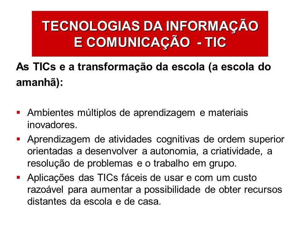 As TICs e a transformação da escola (a escola do amanhã): Ambientes múltiplos de aprendizagem e materiais inovadores. Aprendizagem de atividades cogni