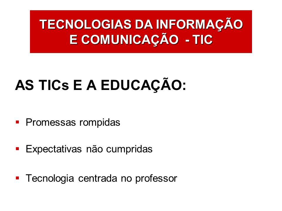 TECNOLOGIAS DA INFORMAÇÃO E COMUNICAÇÃO - TIC AS TICs E A EDUCAÇÃO: Promessas rompidas Expectativas não cumpridas Tecnologia centrada no professor